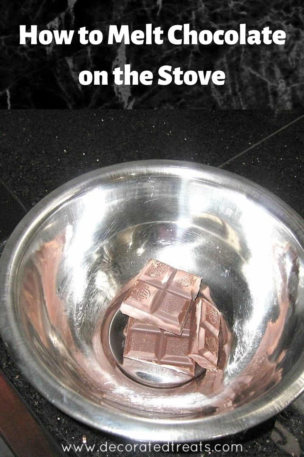 A stainless steel bowl with chopped chocolate