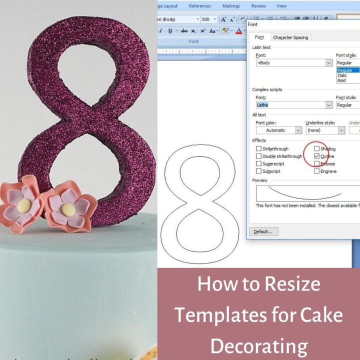 Poster for how to resize templates for cake decorating