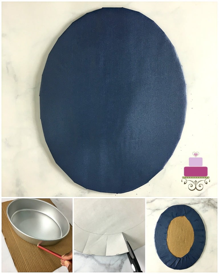 Poster on cake boards DIY with a finished cake board and step by step images