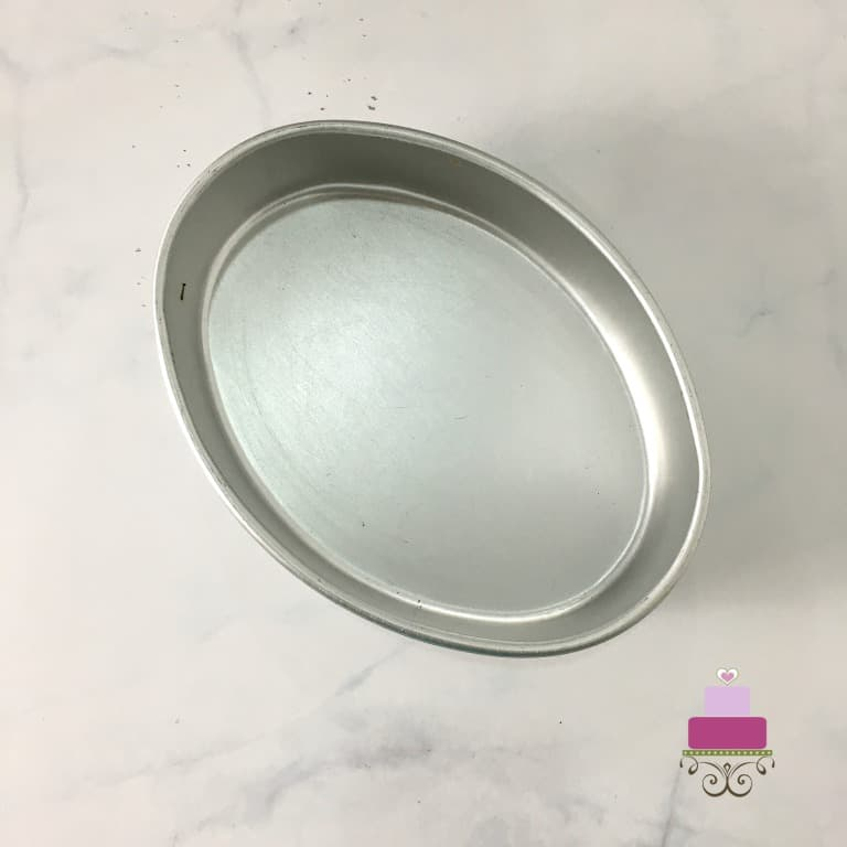 An oval cake tin