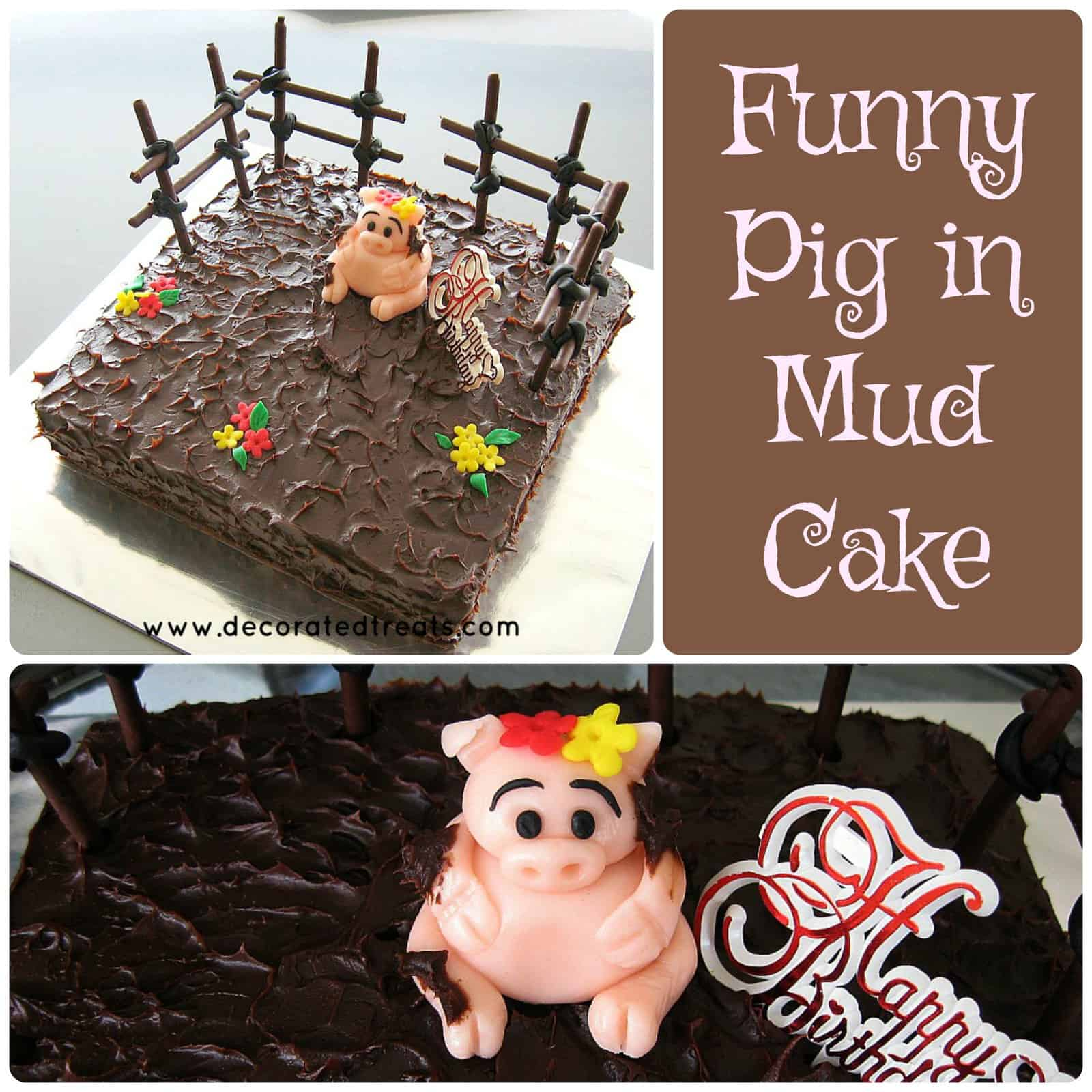 A square cake covered in ganache with a fondant pig topper and cookie sticks fencing