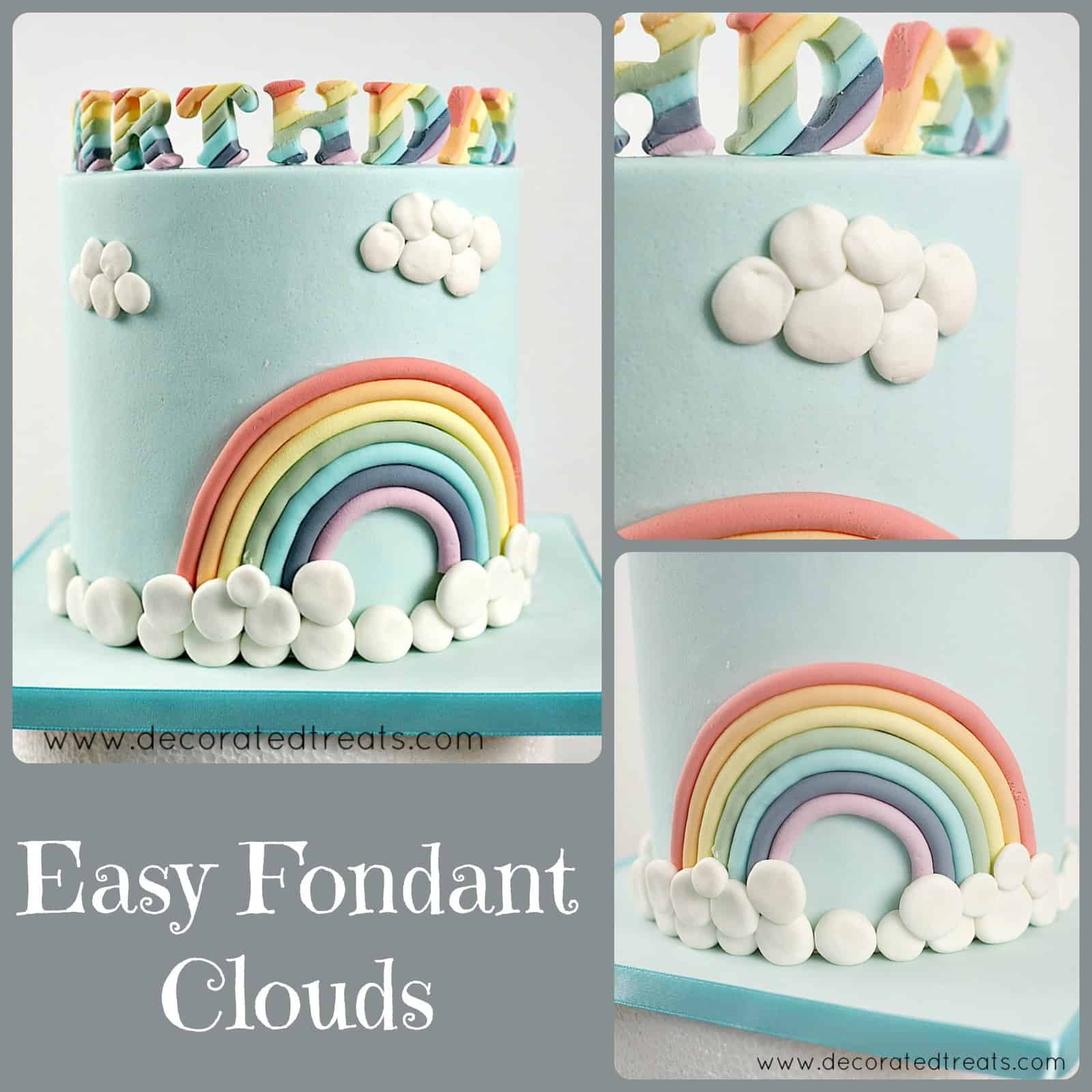 Poster showing  cake decorated with white fondant clouds