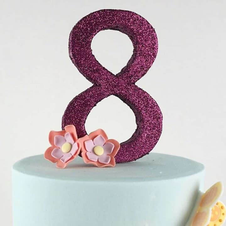Number 8 cake topper in purple glitter