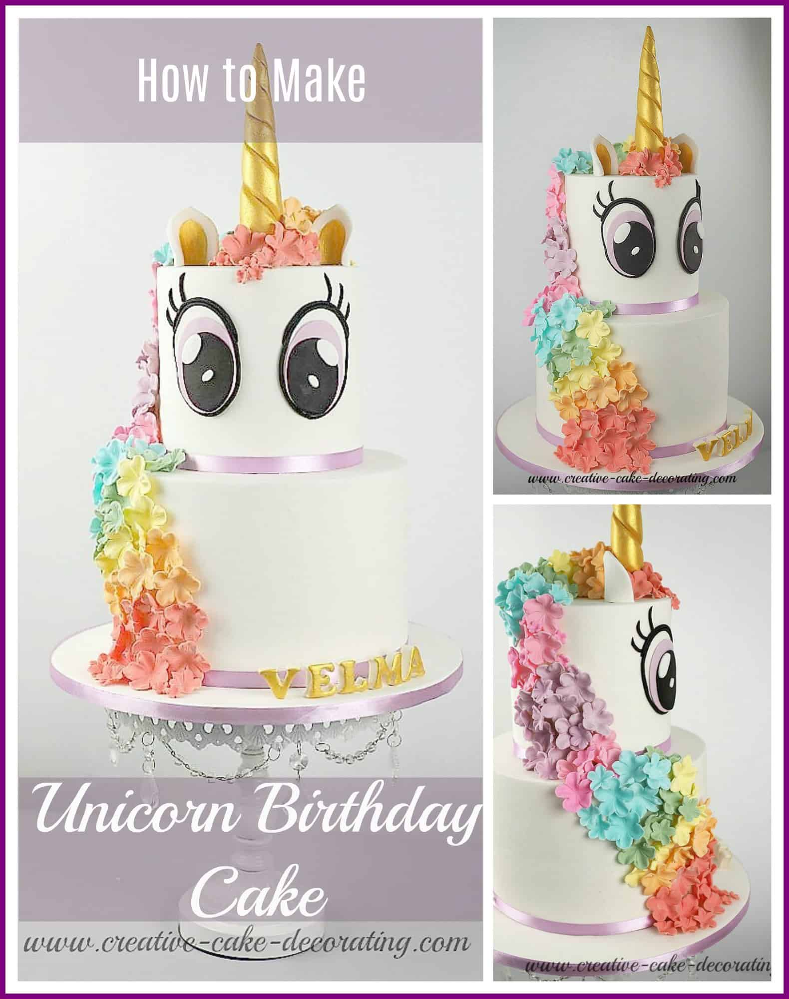 Poster for unicorn birthday cake