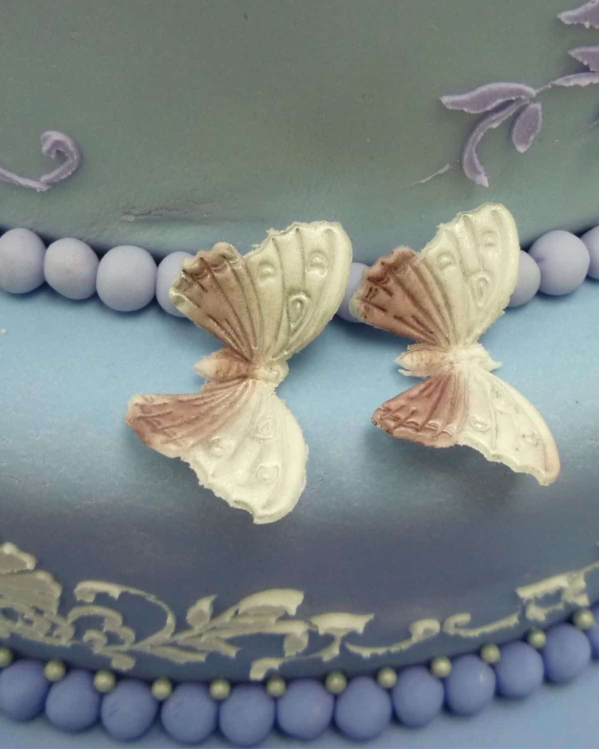 2 gum paste butterflies on a blue cake