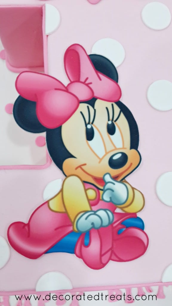 Close up of Minnie Mouse as a baby on edible image