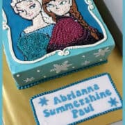 A poster of a square cake with Anna and Elsa images in buttercream and a set of cupcakes decorated with characters from the movie Frozen