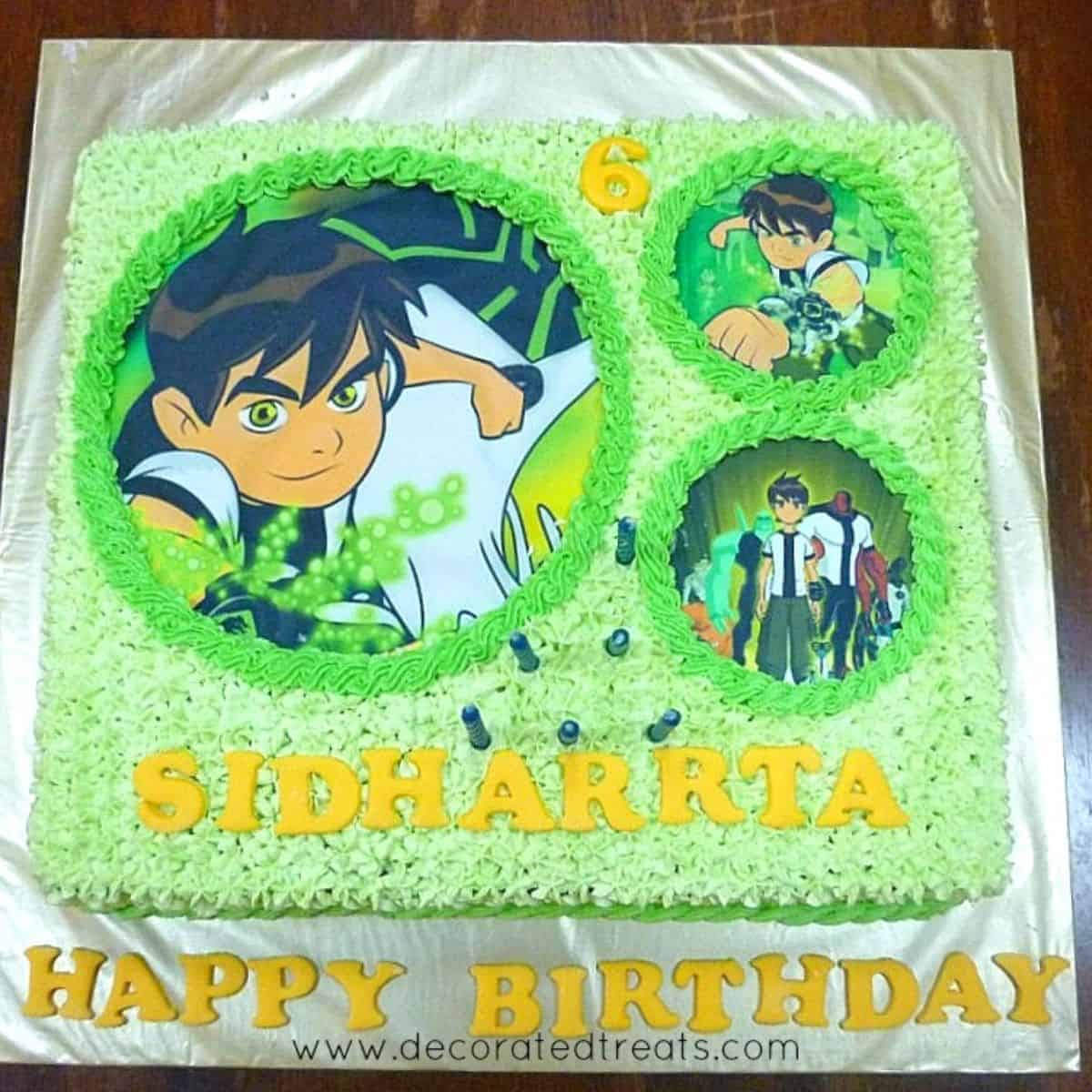 Ben 10 themed square birthday cake decorated in green buttercream and Ben 10 edible images