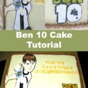 A rectangle cake with Ben 10 image on it