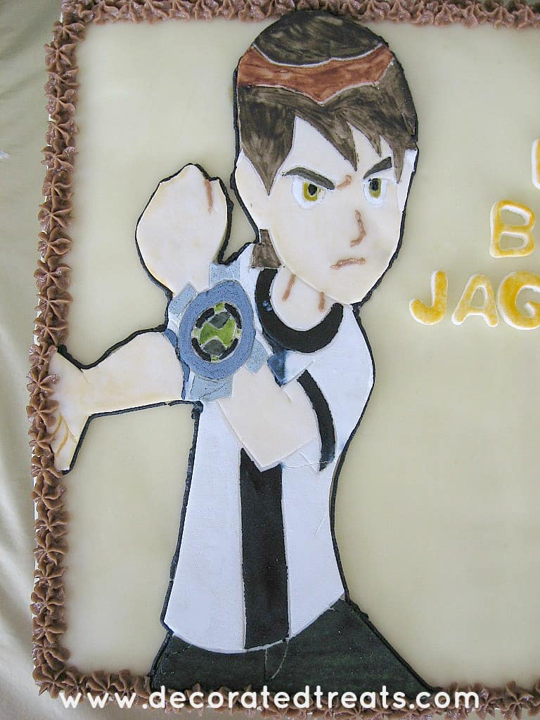 Ben 10 image in fondant on a cake