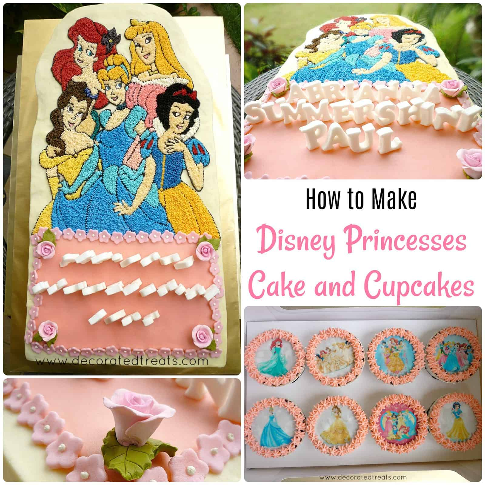 Poster for a cake decorated with Disney Princesses images and a set of matching cupcakes