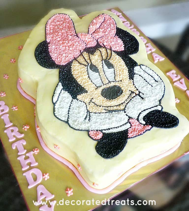 Minnie Mouse cake on a gold cake board