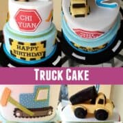 A 2 tier cake with truck topper, and the sides decorated with an orange and red and green trucks.