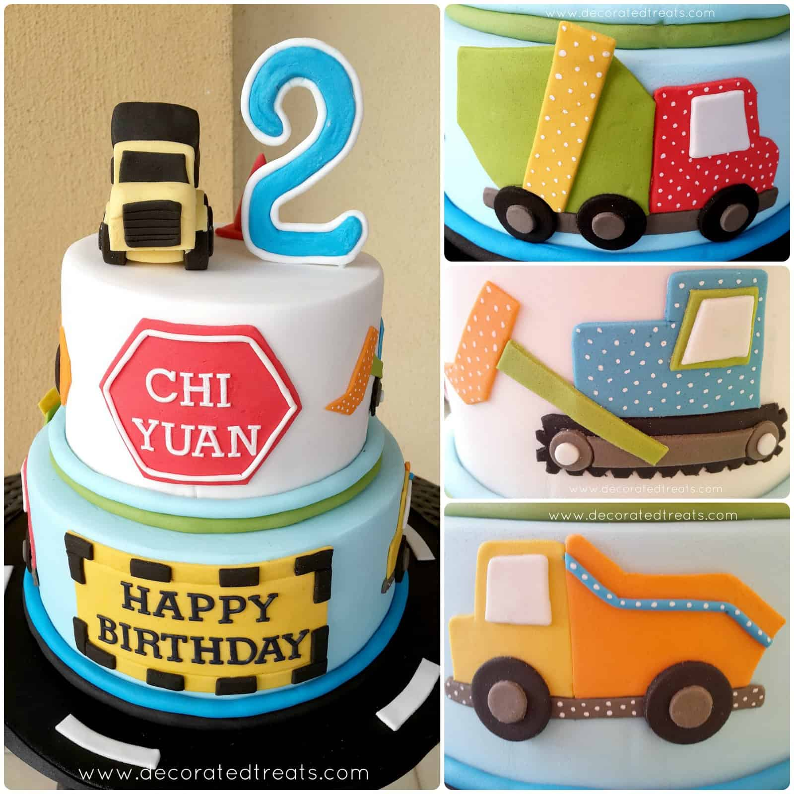 Poster for a 2 tier cake decorated with a truck toppers. The sides of the cake is decorated with 2D designs of various types of trucks