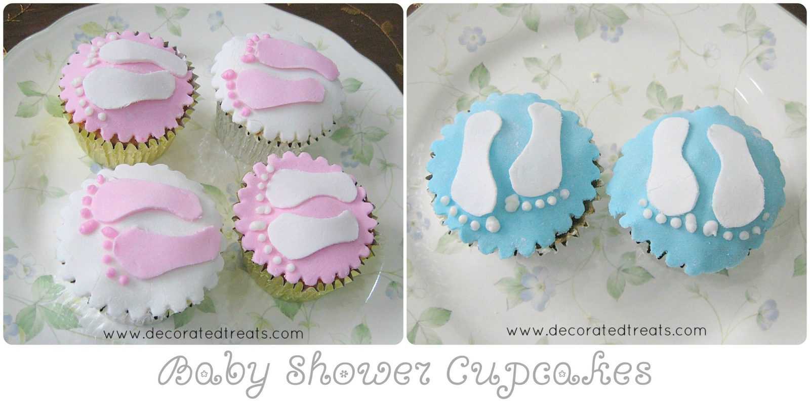 Poster showing 2 sets of baby shower cupcakes. One set is blue with white footprint design while the other set is pink and white.