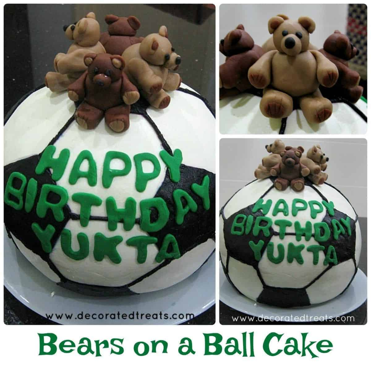 3D ball cake in black and white with 4 fondant teddies as the toppers