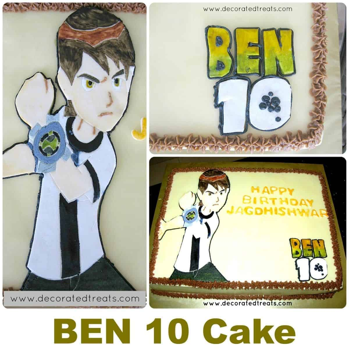 Ben 10 cake poster showing a rectangle cake with a Ben 10 image in fondant