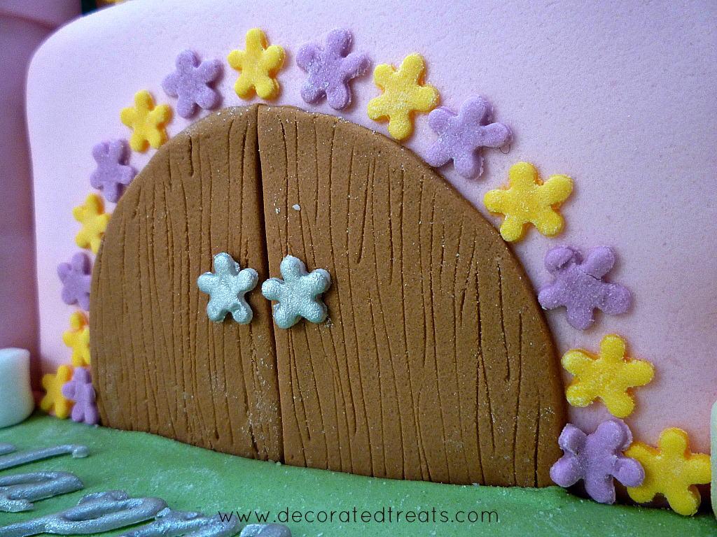 Fondant door on a castle cake