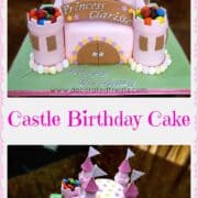 A 2 tiered castle cake in pink, decorated with mini marshmallows