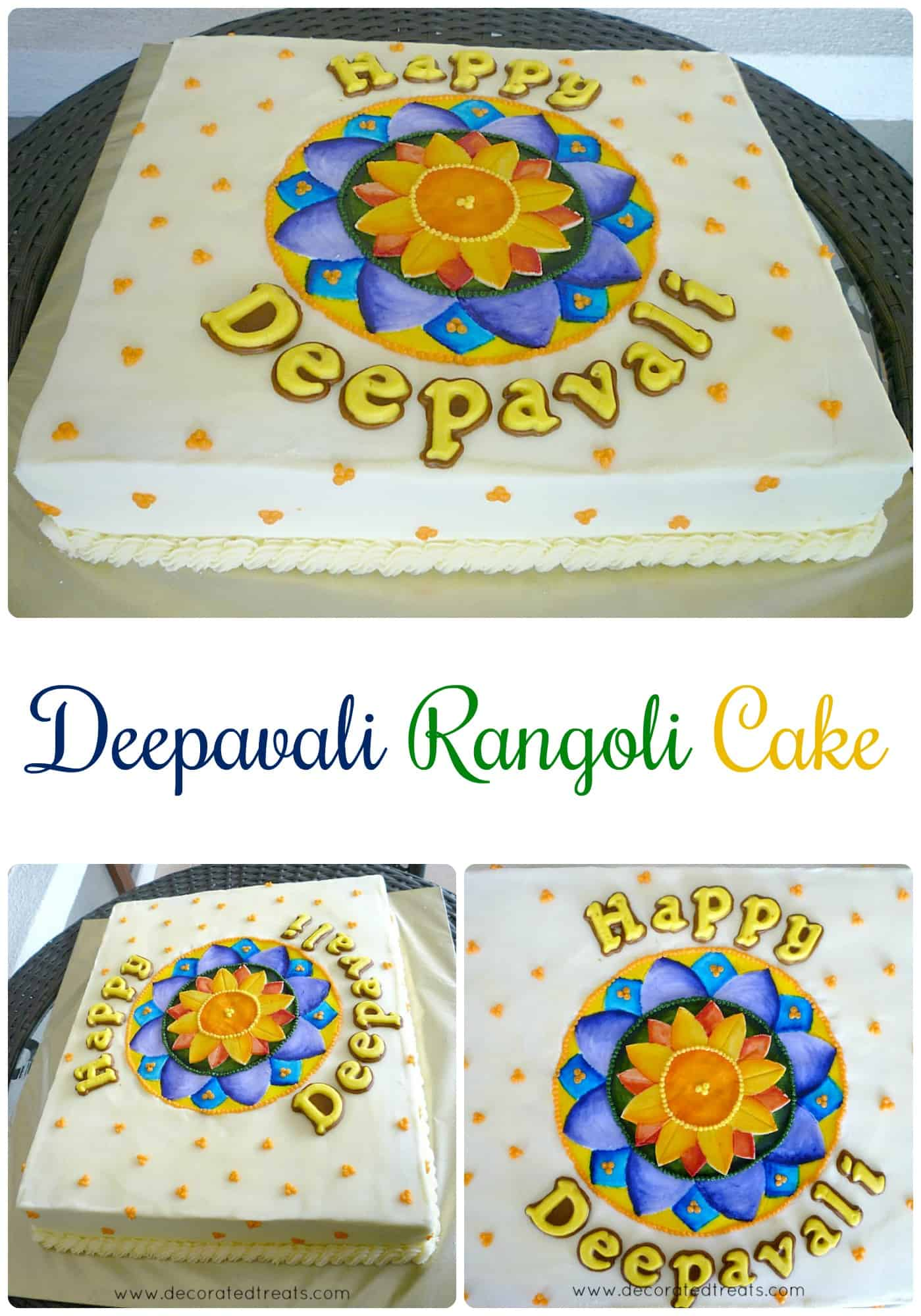A rectangle cake with Rangoli design in blue and orange