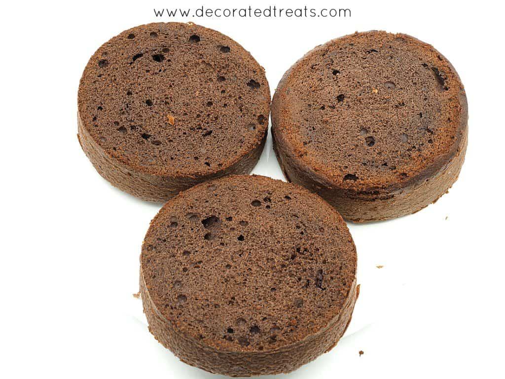 3 layers of leveled chocolate cakes