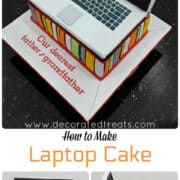 A laptop shaped cake in white and black on a cake decorated in colorful fondant stripes