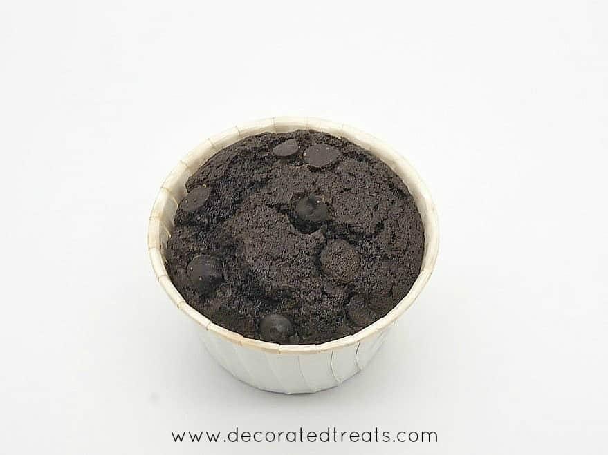 A chocolate cupcake in white muffin casing