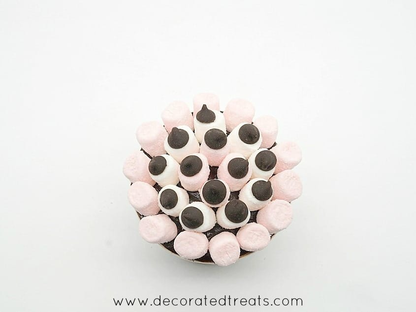 A cupcake decorated with mini white and pink marshmallows and chocolate chips