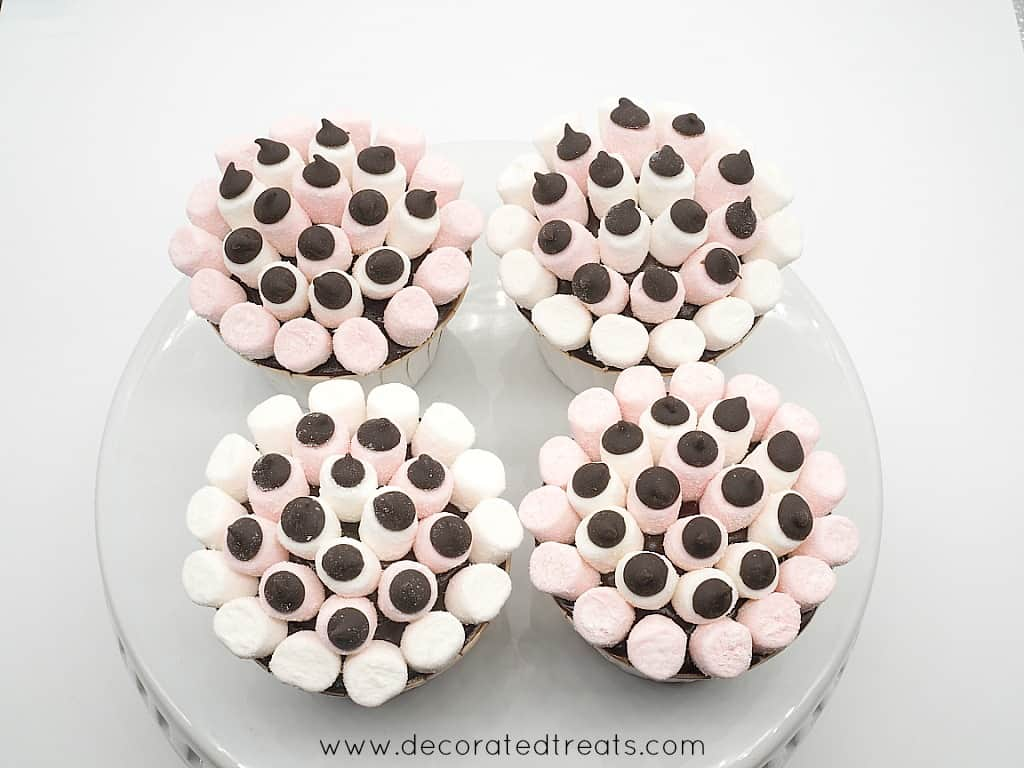 4 cupcakes on a plate, decorated with mini white and pink marshmallows and chocolate chips