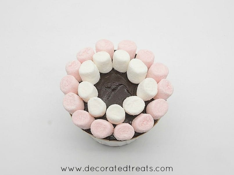 2 rows of pink and white mini marshmallows on a chocolate covered cupcake