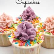 mini cupcakes decorated with colorful sprinkles and purple and peach buttercream swirls