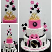 Poster for a pink 21st birthday cake