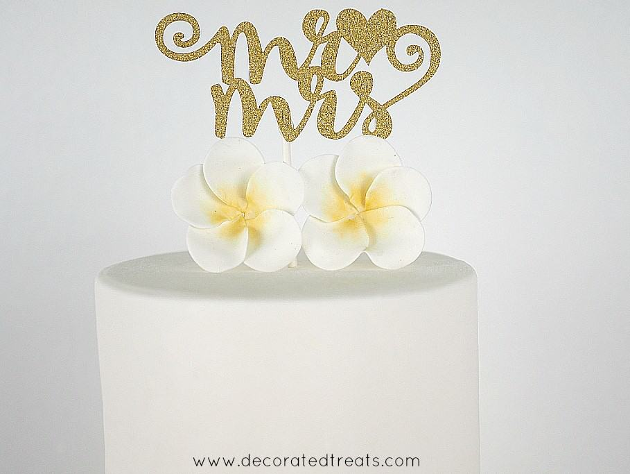 Two plumeria gum paste flowers and a gold 'Mr and Mrs' cake topper on a white round cake