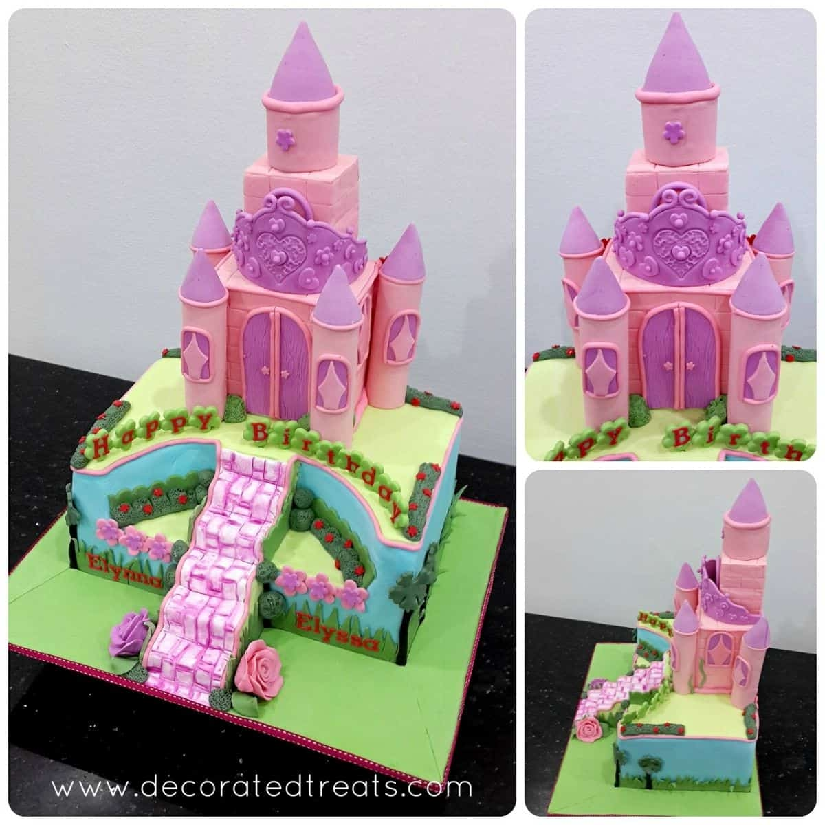Poster for a pink and purple princess castle cake on a green cake