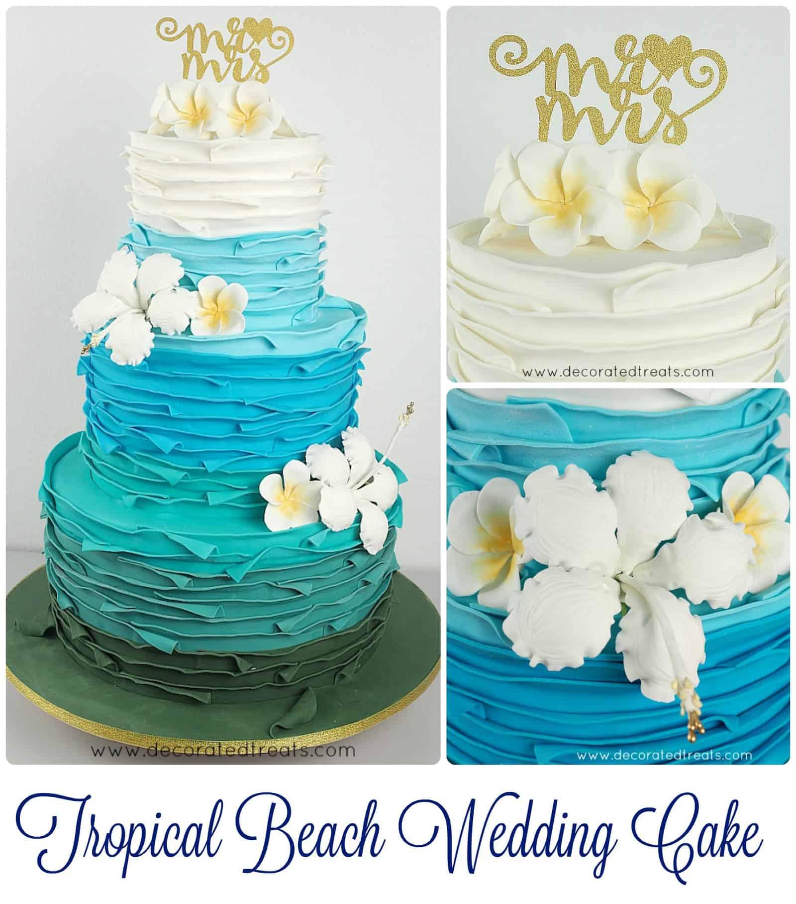 Poster for tropical beach wedding cake