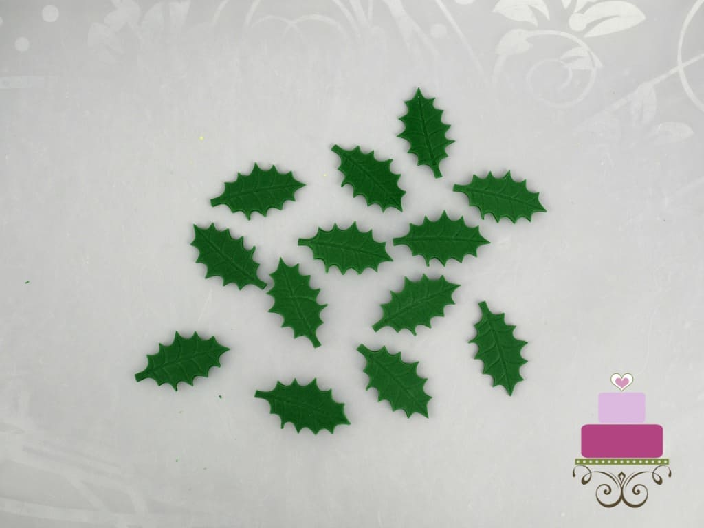 Holly leaves in fondant
