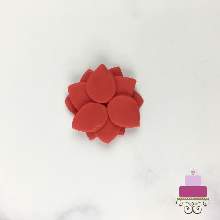 Stacked fondant petals for a poinsettia