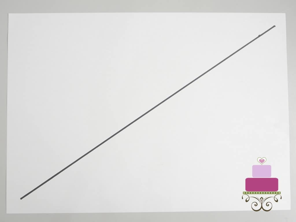 A diagonal line on a piece of rectangle paper