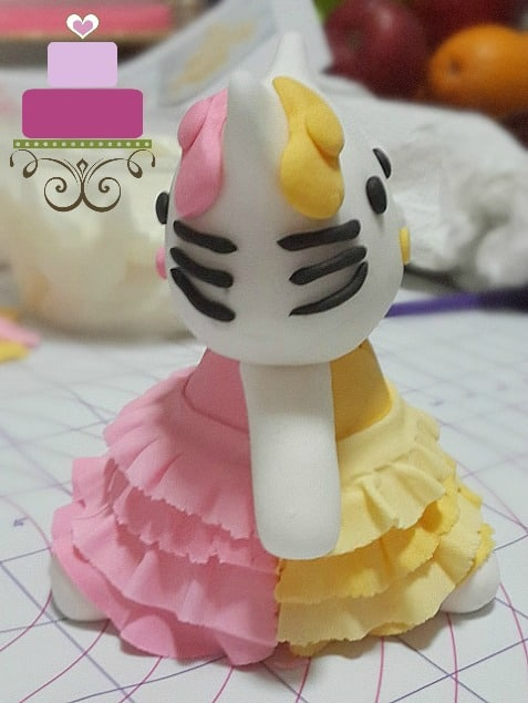 Dual colored Hello Kitty cake topper in pink and yellow