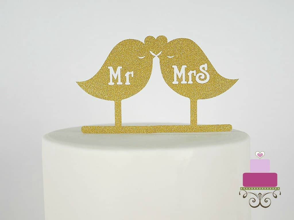 Mr and Mrs Gold Birds cake topper