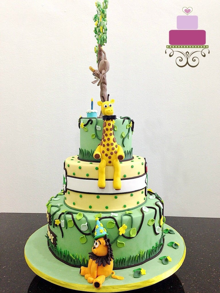 Poster for a 3 tier jungle themed cake with fondant animal toppers