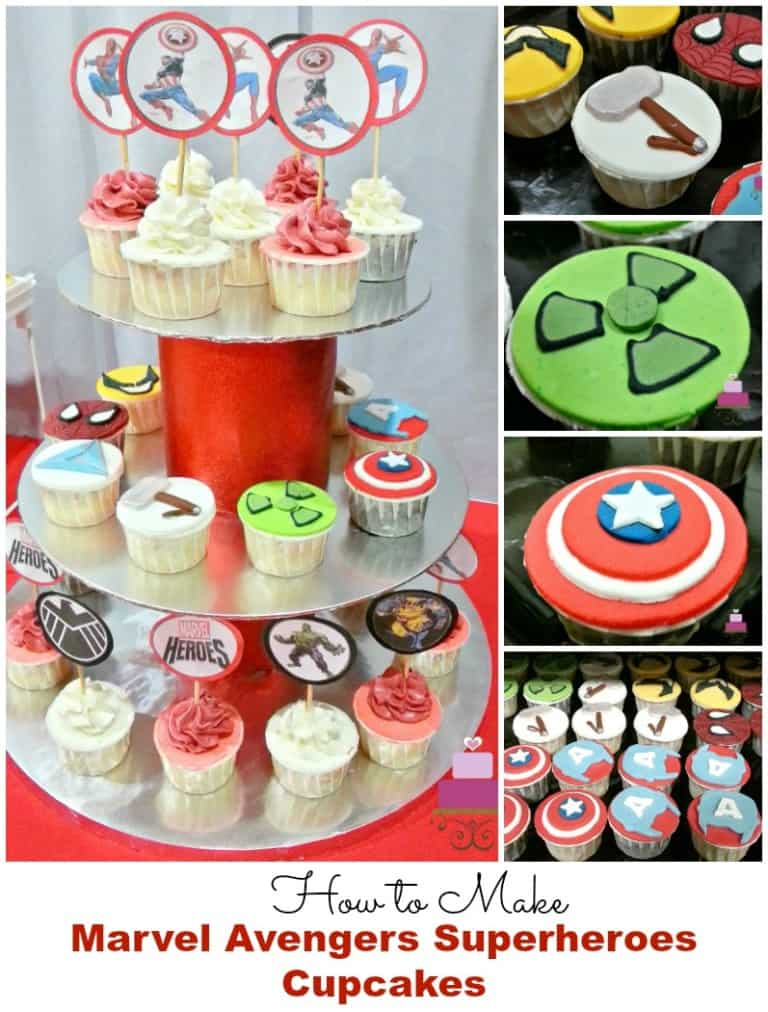 Marvel superheroes themed cupcakes on a red and silver cupcake stand