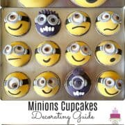Minion cupcakes decorated with various yellow and purple minion faces