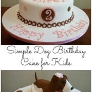 A round white cake with a brown and white fondant dog topper