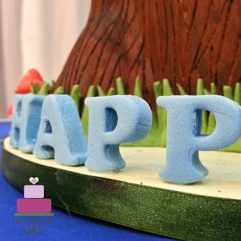 Fondant alphabets in blue