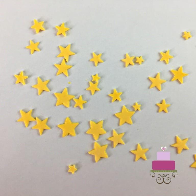 Fondant stars in yellow