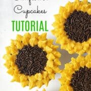 Cupcakes decorated to look like sunflowers