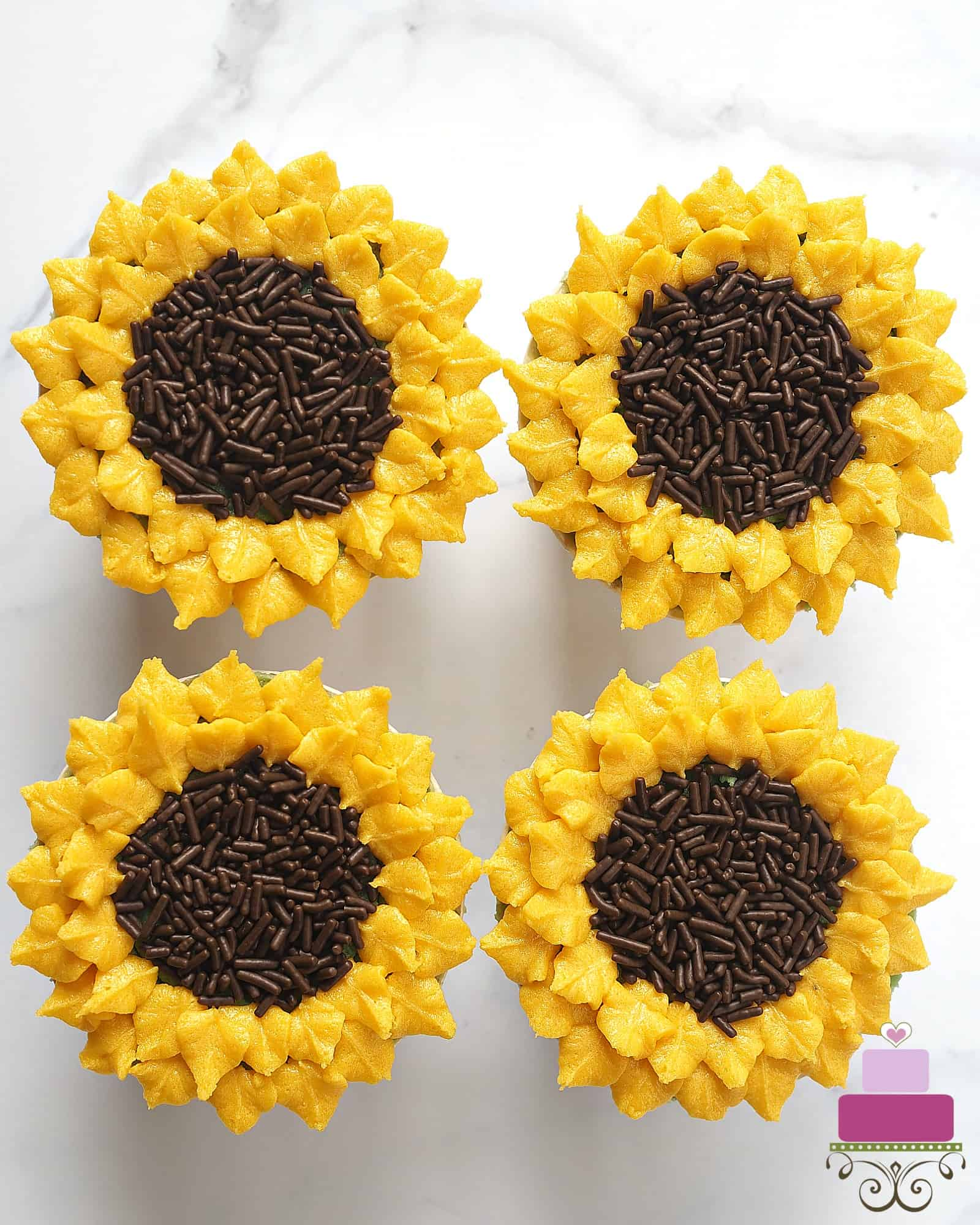 4 sunflower cupcakes