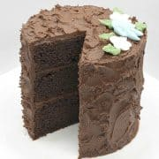 A three layer chocolate cake with chocolate icing