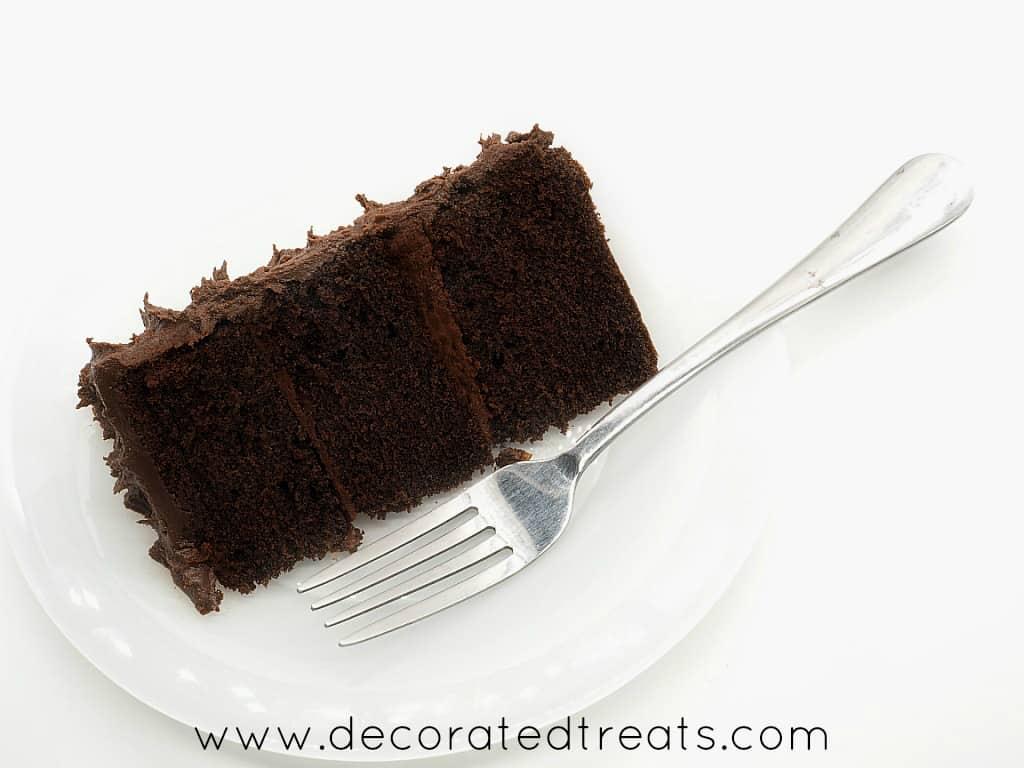A slice of chocolate cake on a plate